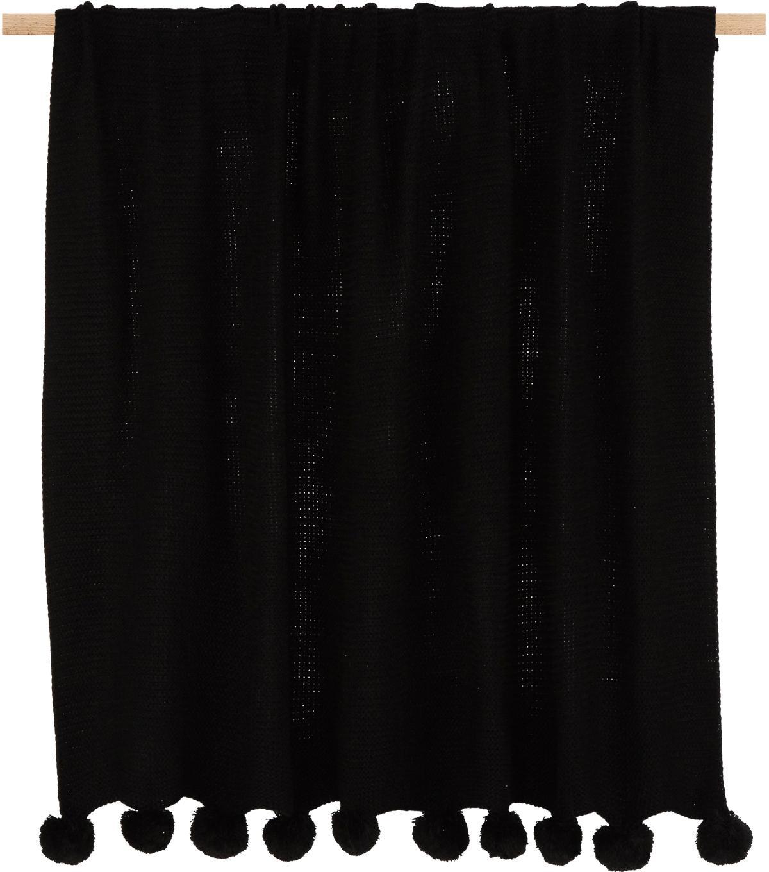 Strick-Plaid Bolme mit Pompoms, 100% Acryl, Schwarz, 130 x 150 cm
