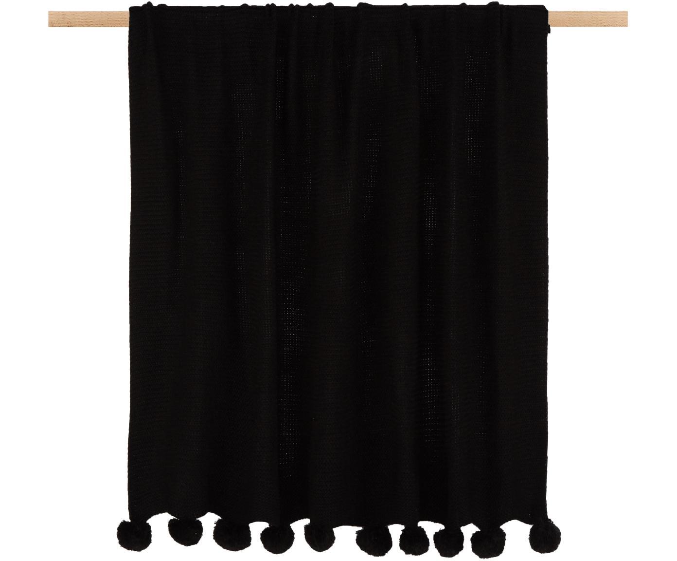 Manta de punto con pompones Bolme, Turquesa, blanco, Negro, An 130 x L 150 cm