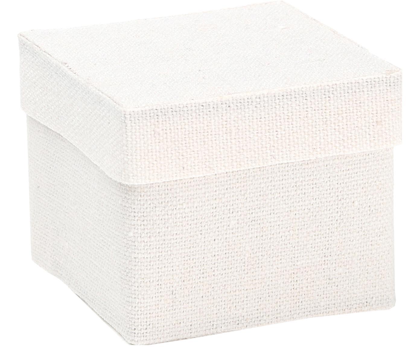 Geschenkdozen Square, 6 stuks, Katoen, Wit, 5 x 5 cm