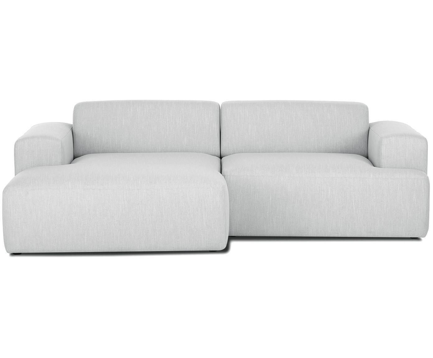 Ecksofa Melva (3-Sitzer), Bezug: Polyester 35.000 Scheuert, Gestell: Massives Kiefernholz, Spa, Webstoff Hellgrau, B 240 x T 144 cm