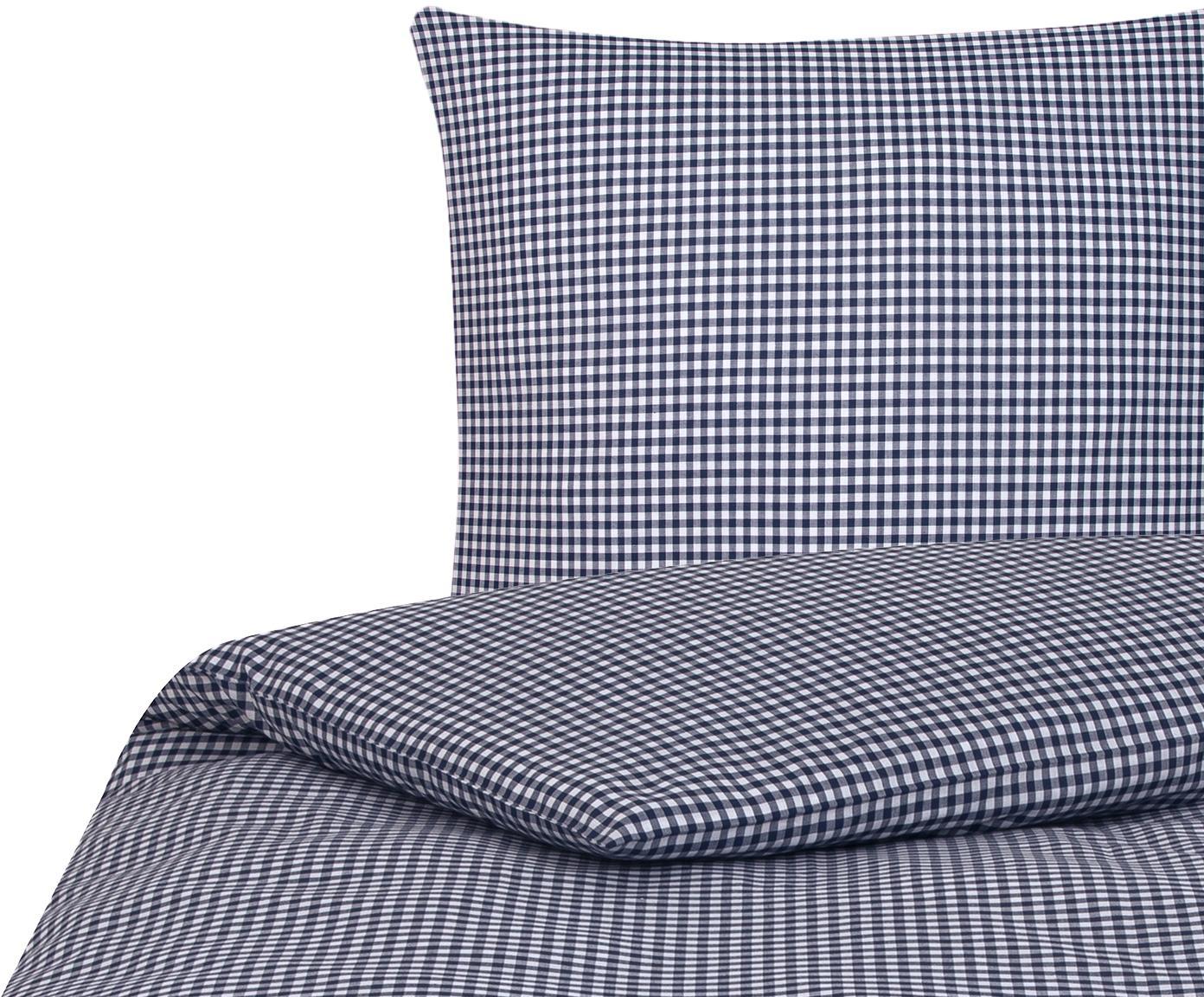 Pościel z bawełny Scotty, Bawełna, Niebieski, biały, 240 x 220 cm