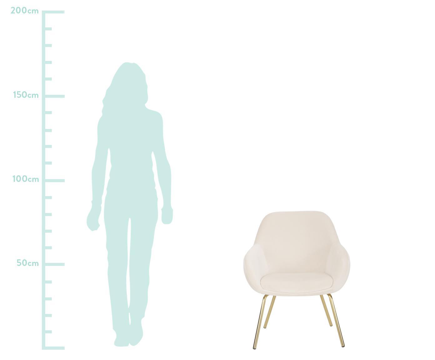 Fluwelen fauteuil Jana, Bekleding: fluweel (polyester), Poten: gelakt metaal, Crèmewit, B 72 x D 68 cm