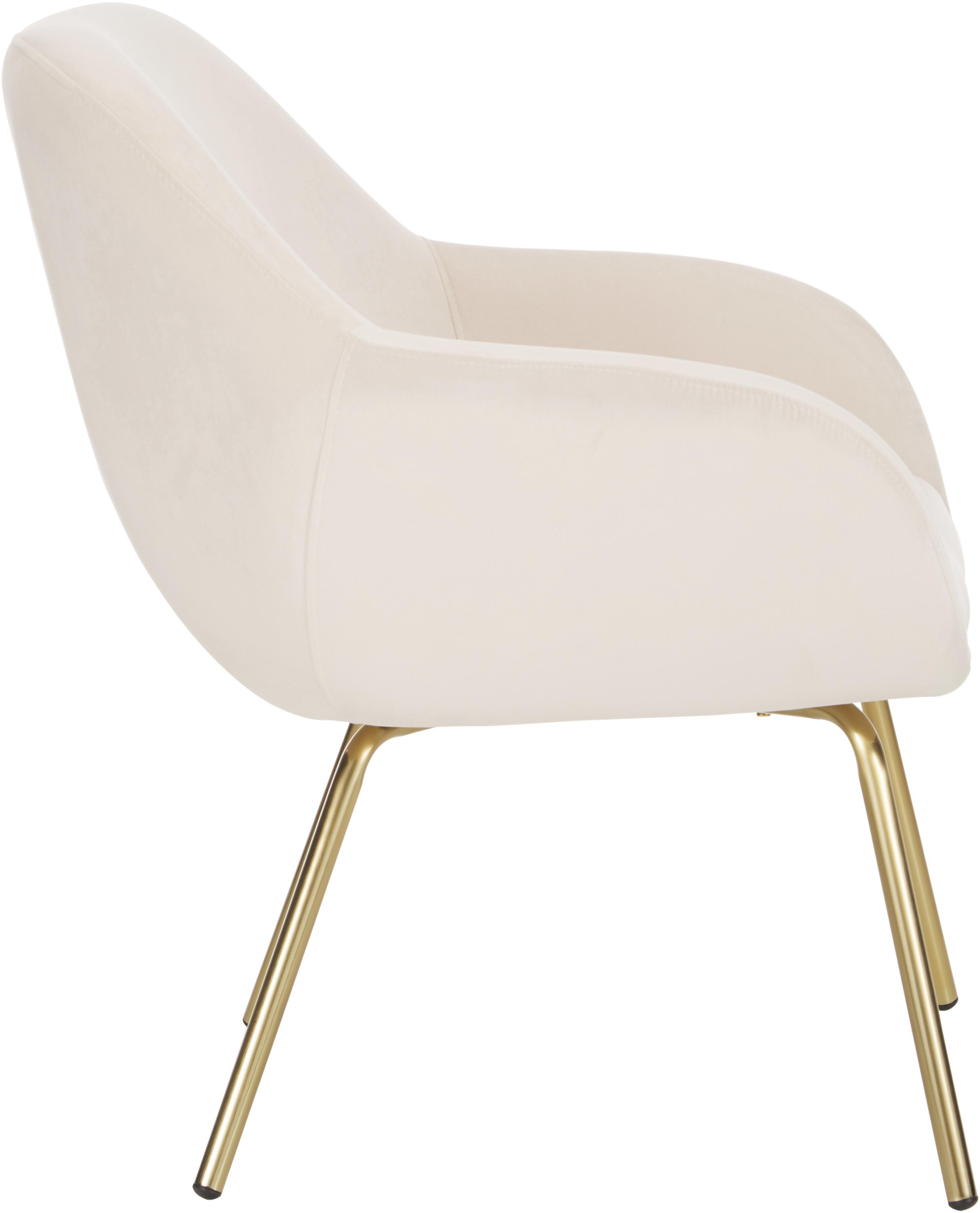 Samt-Sessel Jana, Bezug: Samt (Polyester) 25.000 S, Beine: Metall, lackiert, Samt Cremeweiß, B 72 x T 68 cm