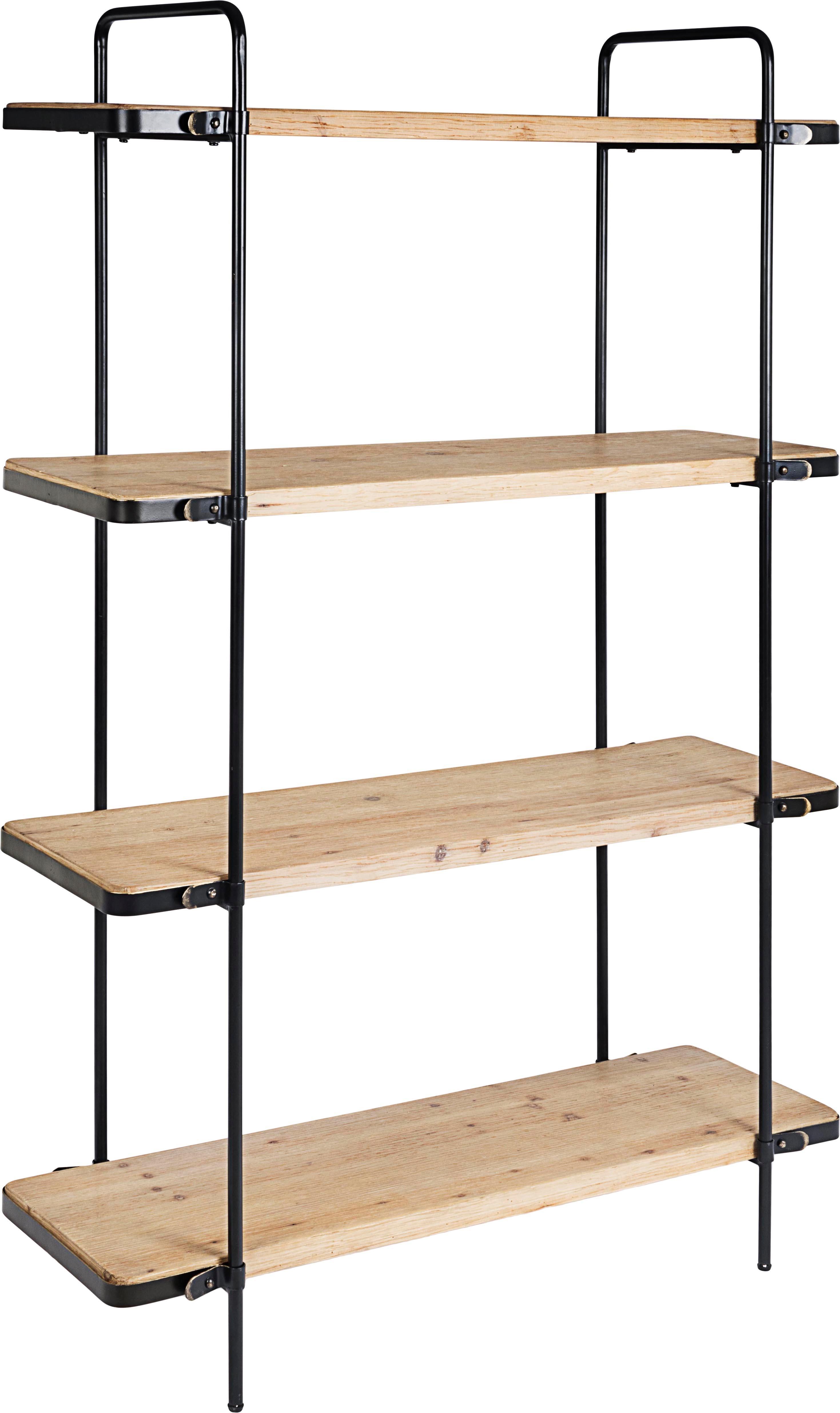 Estantería de madera y metal Jerrod, Estructura: metal epoxidado y con pin, Estantes: tablero de fibras de dens, Negro, marrón, An 122 x Al 180 cm