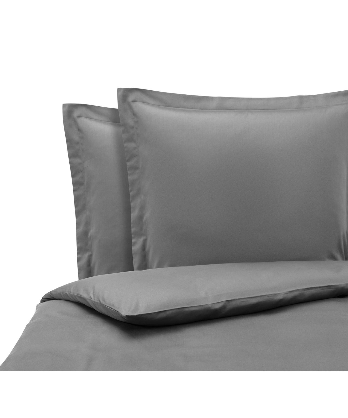Pościel z satyny bawełnianej Premium, Ciemny szary, 240 x 220 cm