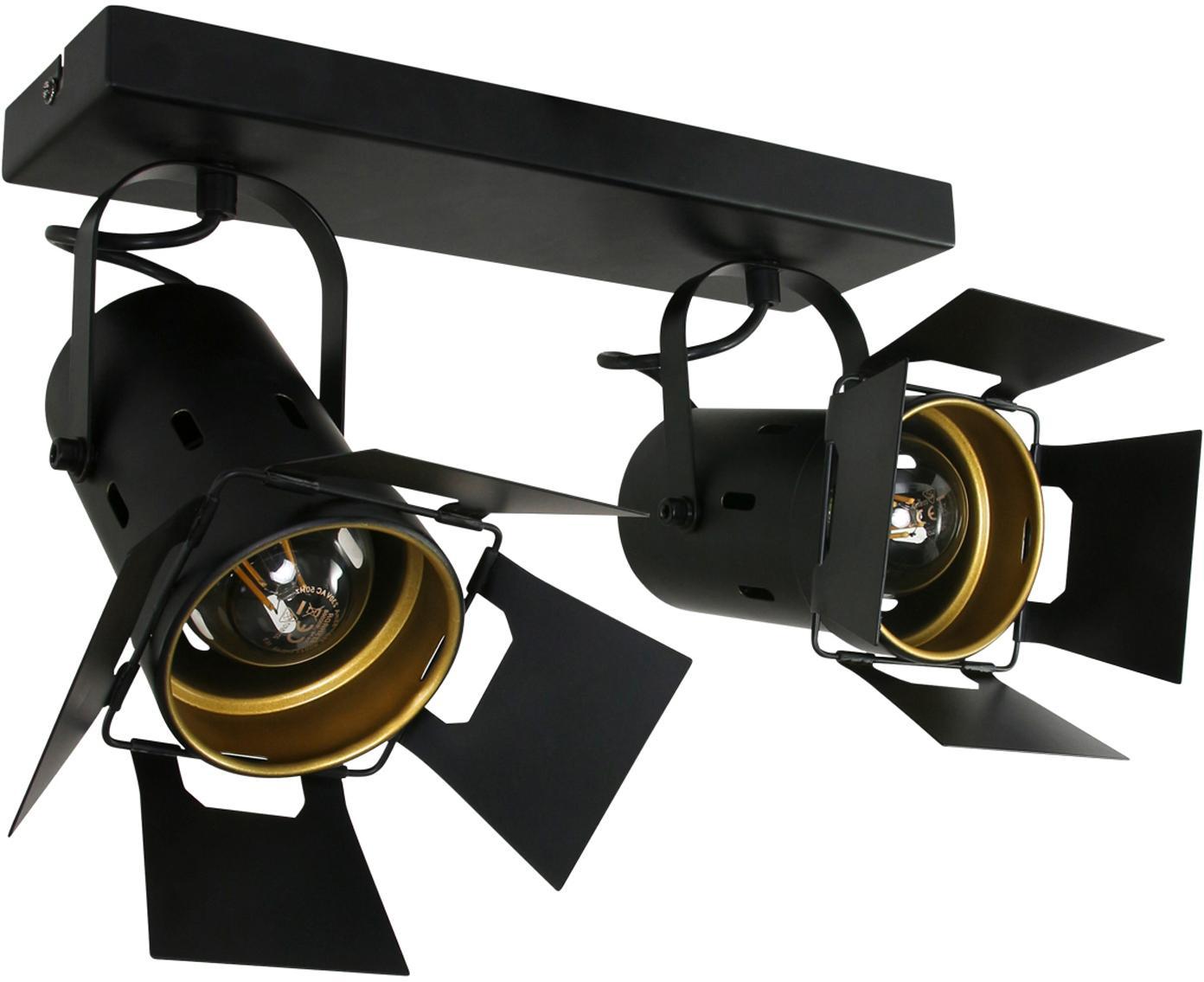Industrial-Deckenstrahler Carre, verstellbar, Metall, lackiert, Schwarz, 58 x 37 cm