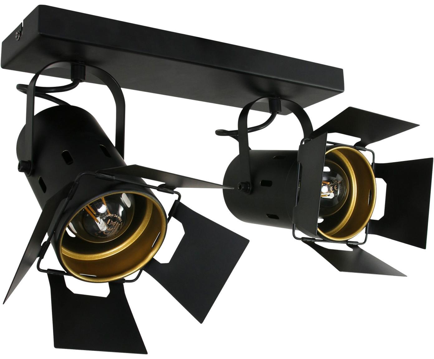 Plafondspot Carre, Gelakt metaal, Zwart, 58 x 37 cm