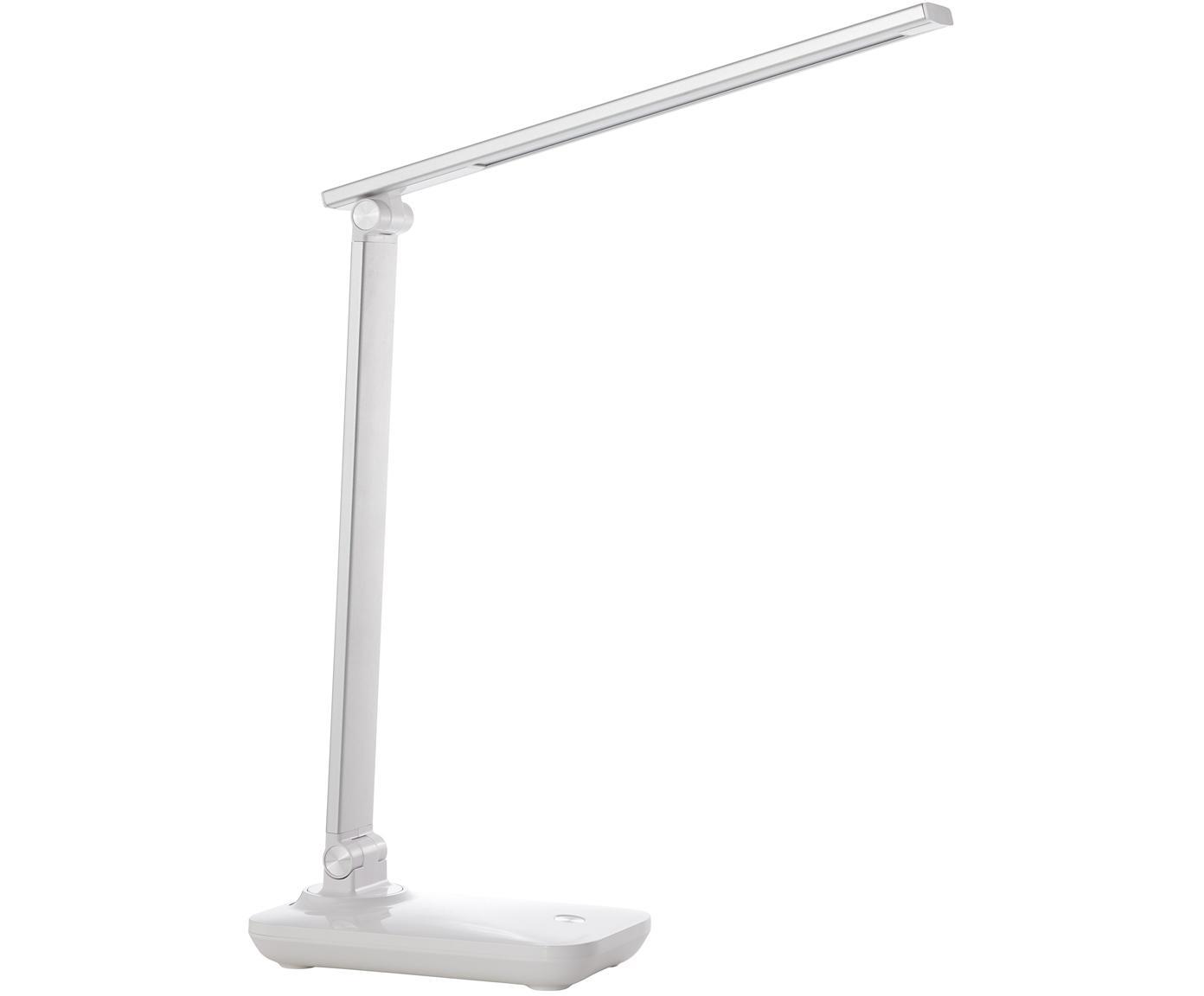 Dimmbare LED Schreibtischlampe Leonora, Lampenschirm: Metall, Weiß, Silberfarben, 10 x 36 cm