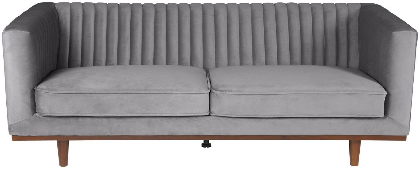 Fluwelen bank Dante (3-zits), Bekleding: polyester fluweel, Poten: gelakt rubberboomhout, Fluweel donkergrijs, B 210  x D 87 cm