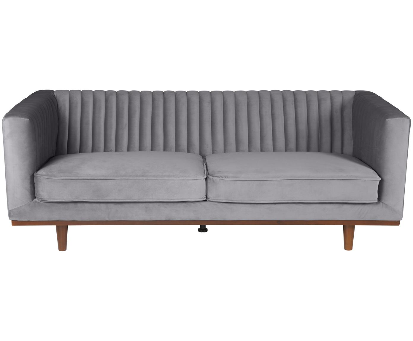 Samt-Sofa Dante (3-Sitzer), Bezug: Polyestersamt 50.000 Sche, Füße: Gummibaumholz, lackiert, Samt Dunkelgrau, B 210 x T 87 cm