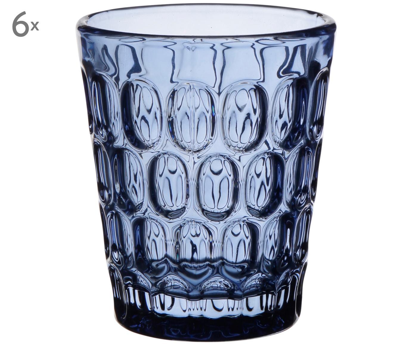 Bicchiere acqua con rilievo Optic 6 pz, Vetro, blu trasparente, 250 ml
