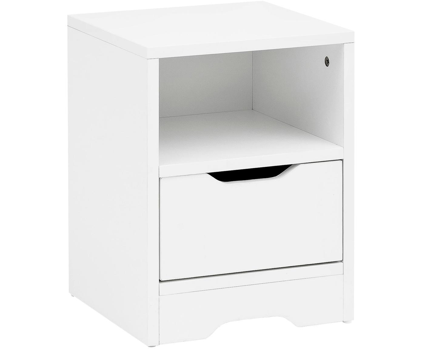 Nachttisch Wohnling mit Schublade, Spanplatte, furniert, melaminbeschichtet, Weiß, 31 x 43 cm
