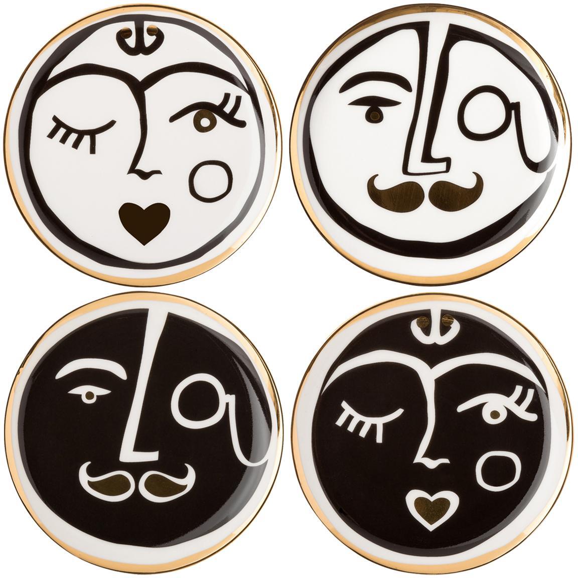 Set de posavasos Gentlemen, 4pzas., Porcelana, Dorado, negro, blanco, Ø 10 cm