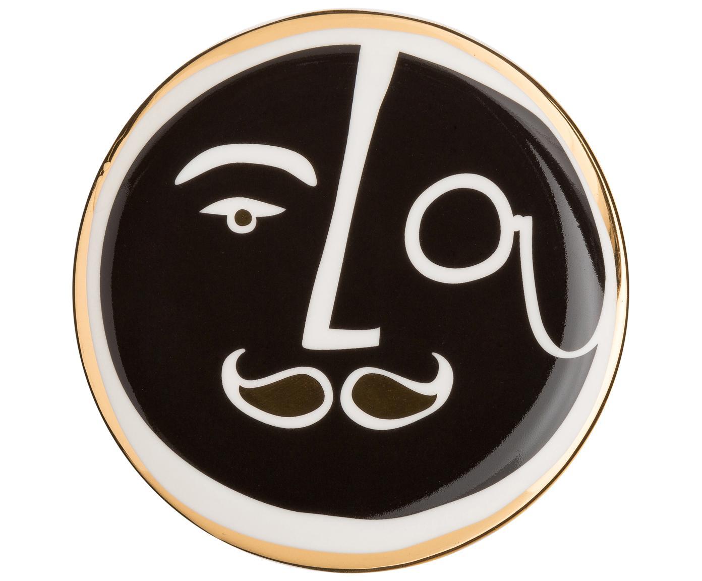 Komplet  podstawek Gentlemen, 4 elem., Porcelana, Złoty, czarny, biały, Ø 10 cm