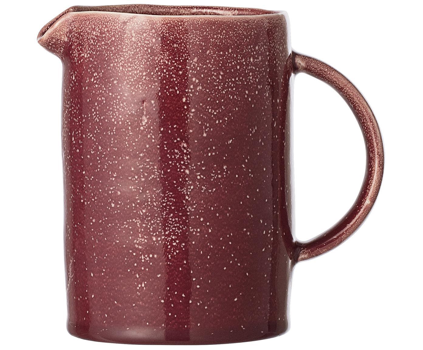 Handgemaaakte karaf Joelle, Gelakt keramiek, Wijnrood, crèmekleurig, 800 ml