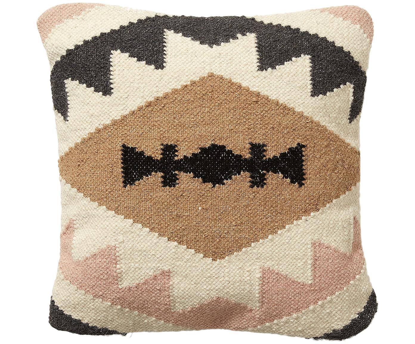 Ethno kussenhoes Gayle, Katoen, Beige, zwart, crèmekleurig, roze, 45 x 45 cm