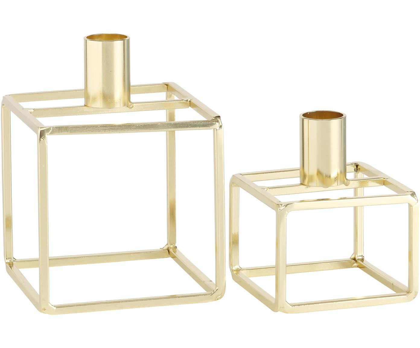 Kerzenhalter-Set Orissa, 2-tlg., Metall, Messingfarben, Sondergrößen