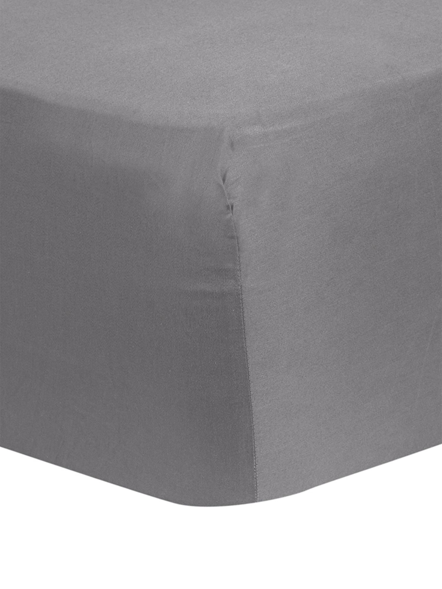 Lenzuolo con angoli in raso di cotone Comfort, Grigio scuro, Larg. 160 x Lung. 200 cm