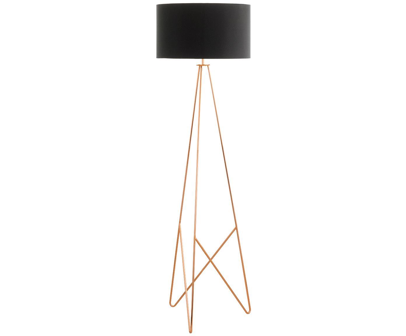 Lampada da terra in rame Camporale, Base della lampada: acciaio, verniciato, Nero, colori rame, Ø 45 x Alt. 154 cm