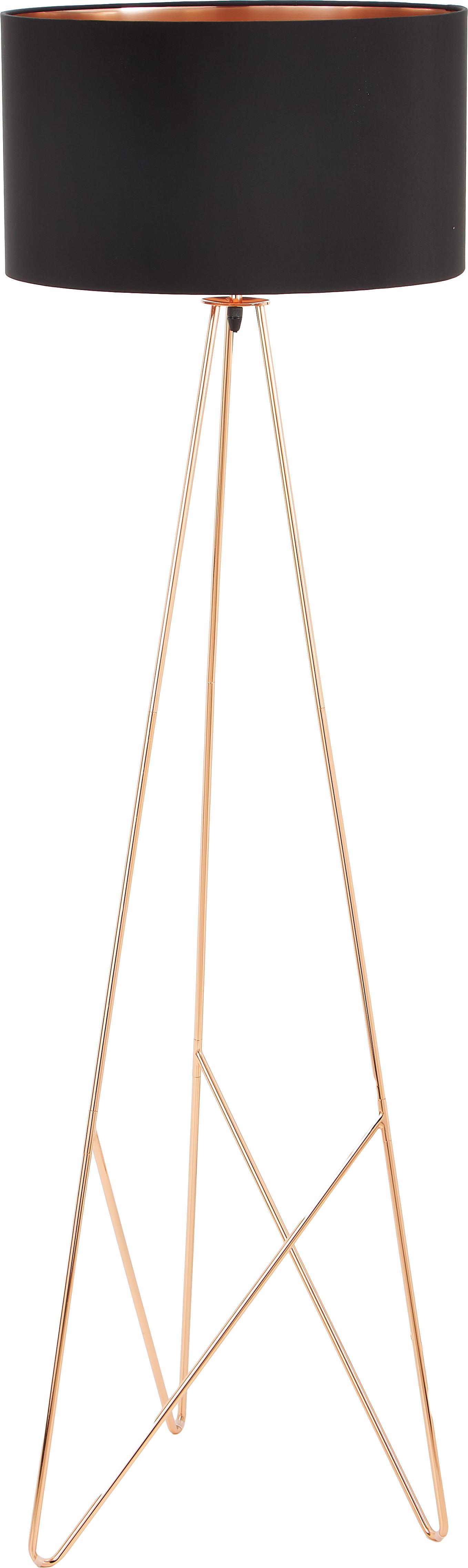 Vloerlamp Camporale in koperkleur, Lampvoet: gelakt staal, Zwart, koperkleurig, Ø 45 x H 154 cm