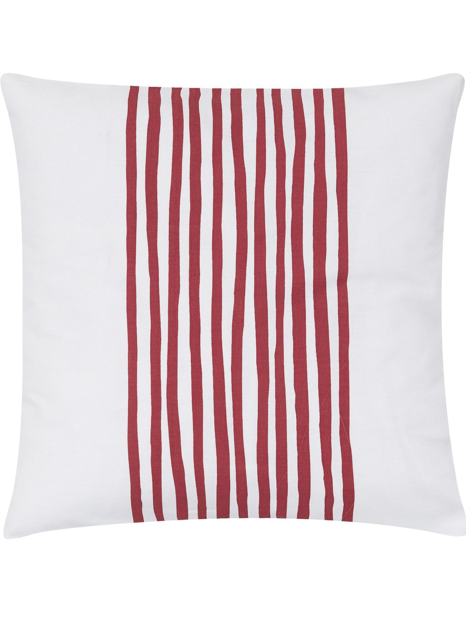 Funda de cojín Corey, 100% algodón, Blanco, rojo oscuro, An 40 x L 40 cm