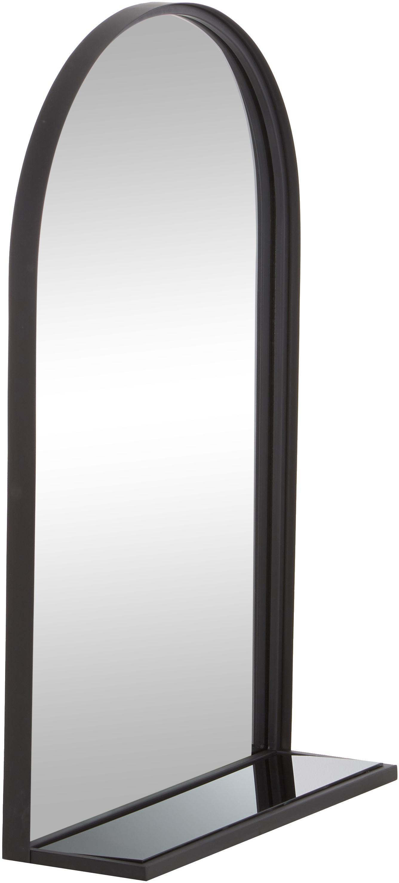 Wandspiegel Grisell met plank en zwarte metalen lijst, Frame: gecoat metaal, Zwart, 46 x 77 cm