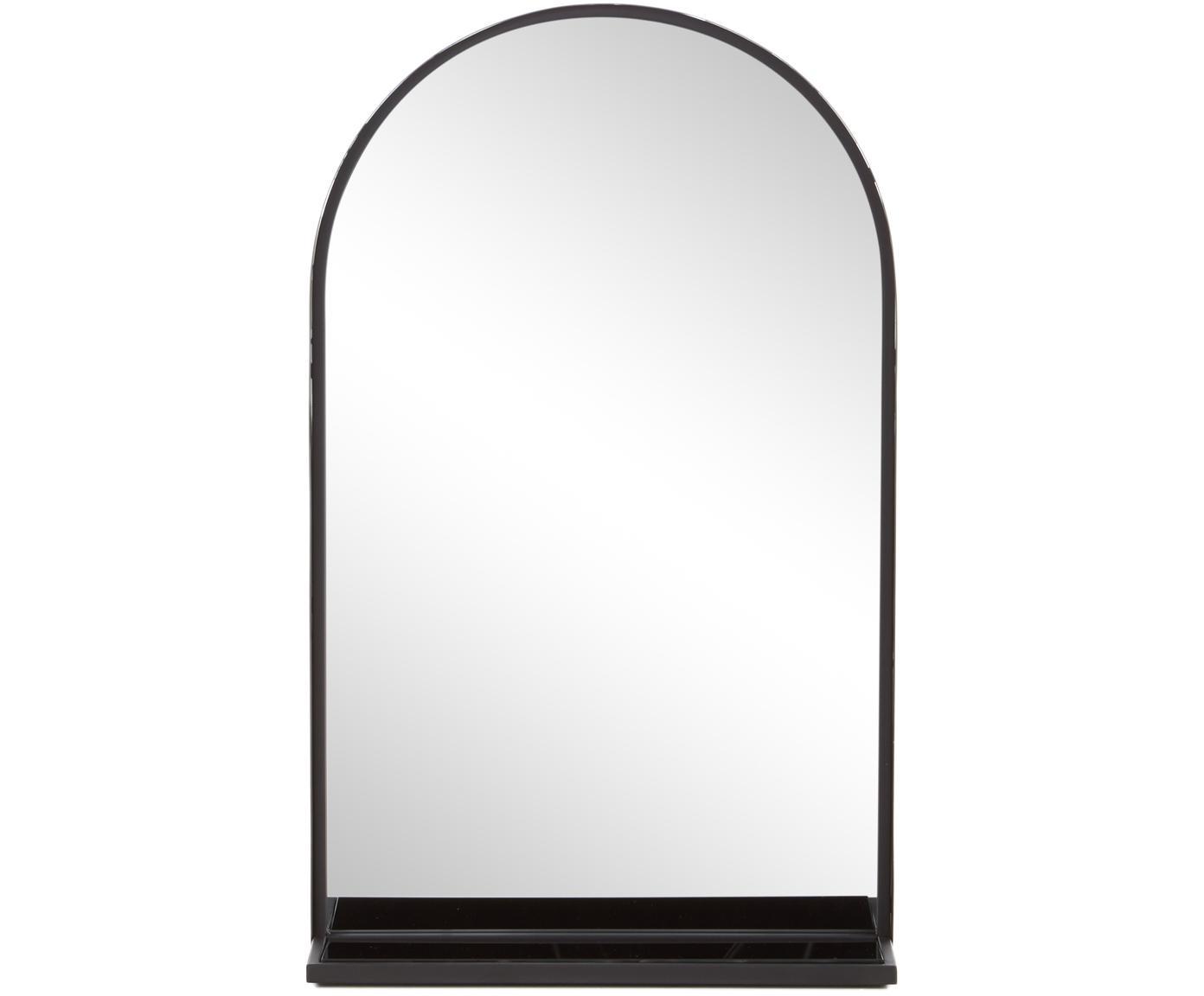 Wandspiegel Grisell mit Ablage und schwarzem Metallrahmen, Rahmen: Metall, beschichtet, Spiegelfläche: Spiegelglas, Schwarz, 46 x 77 cm