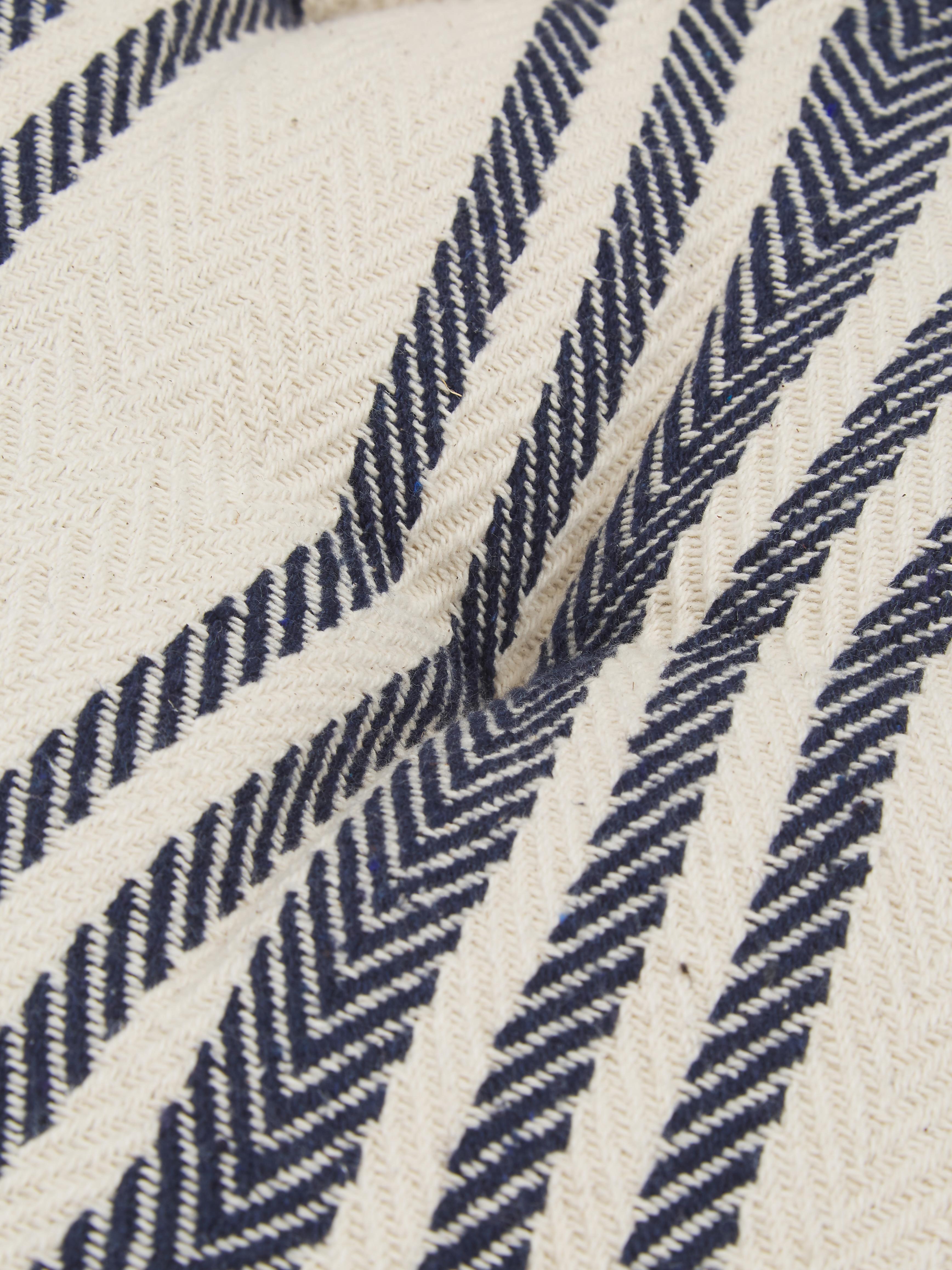 Vloerkussen Puket, Donkerblauw, wit, 60 x 120 cm
