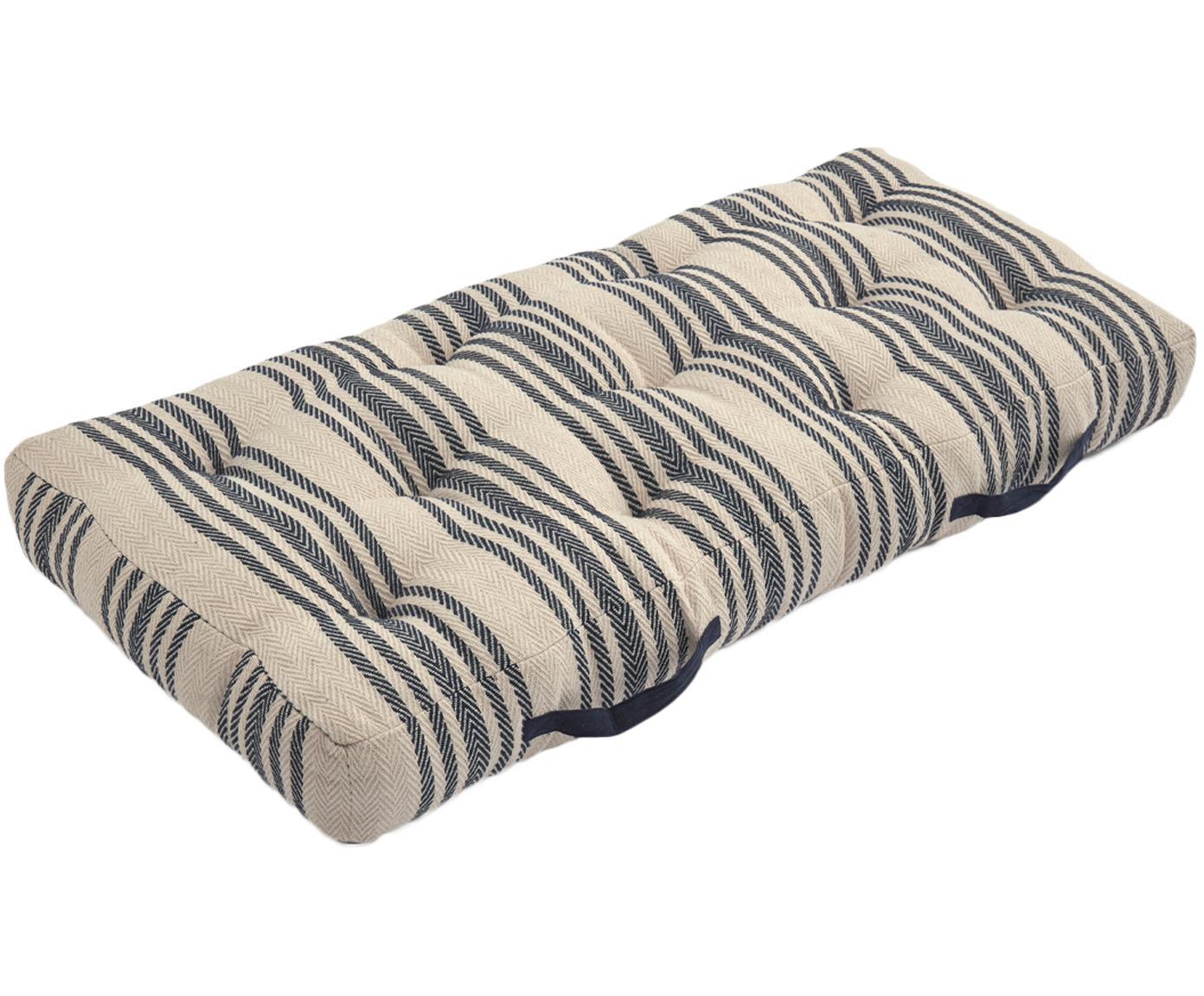 Cuscino da pavimento a righe Puket, Blu scuro, bianco, Larg. 60 x Lung. 120 cm