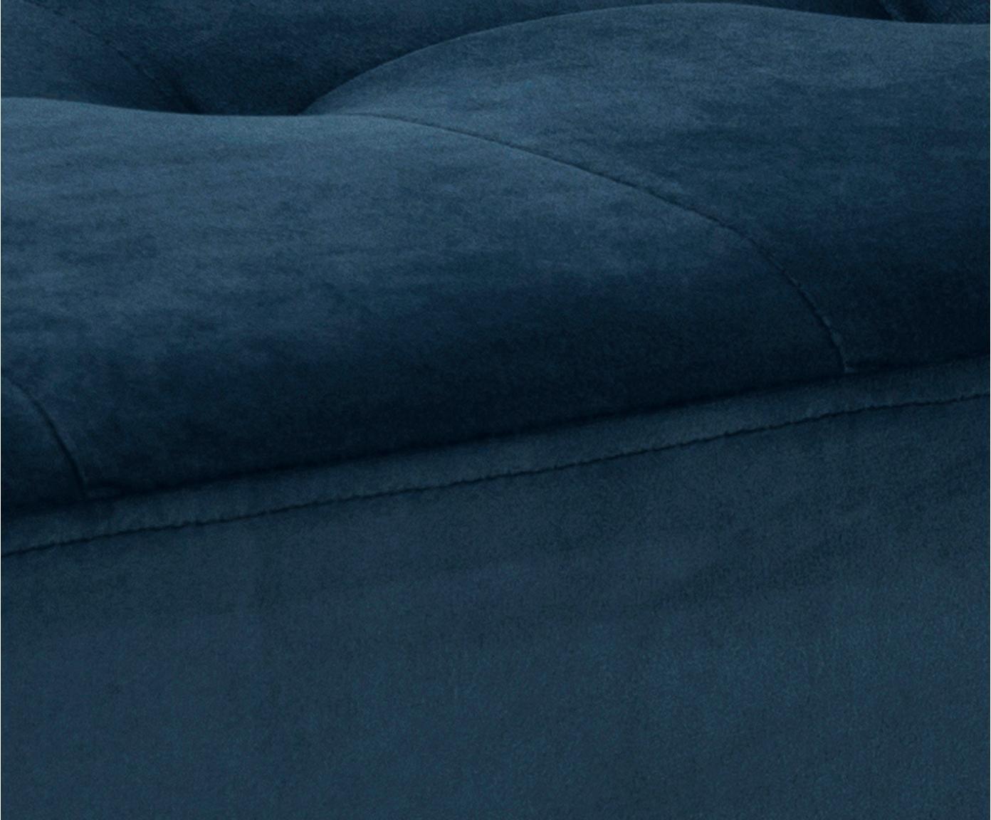 Ławka z aksamitu Glory, Tapicerka: aksamit poliestrowy 2500, Stelaż: metal malowany proszkowo, Niebieski, czarny, S 95 x W 45 cm