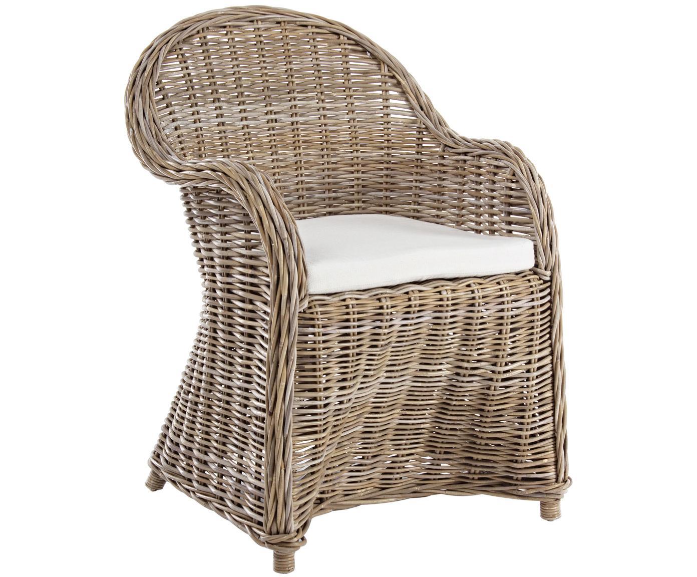 Sedia in rattan Martin, Intreccio: rattan Cuscino: bianco, Larg. 60 x Alt. 89 cm