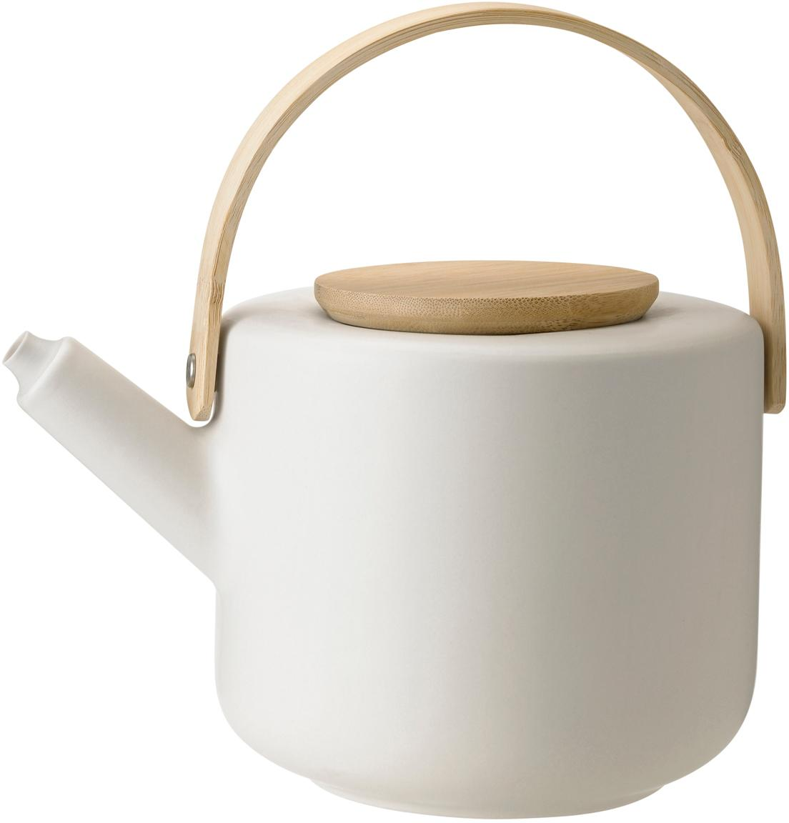 Teekanne Theo in Weiß matt, Kanne: Steingut, Gebrochenes Weiß, Bambus, 1.25 L