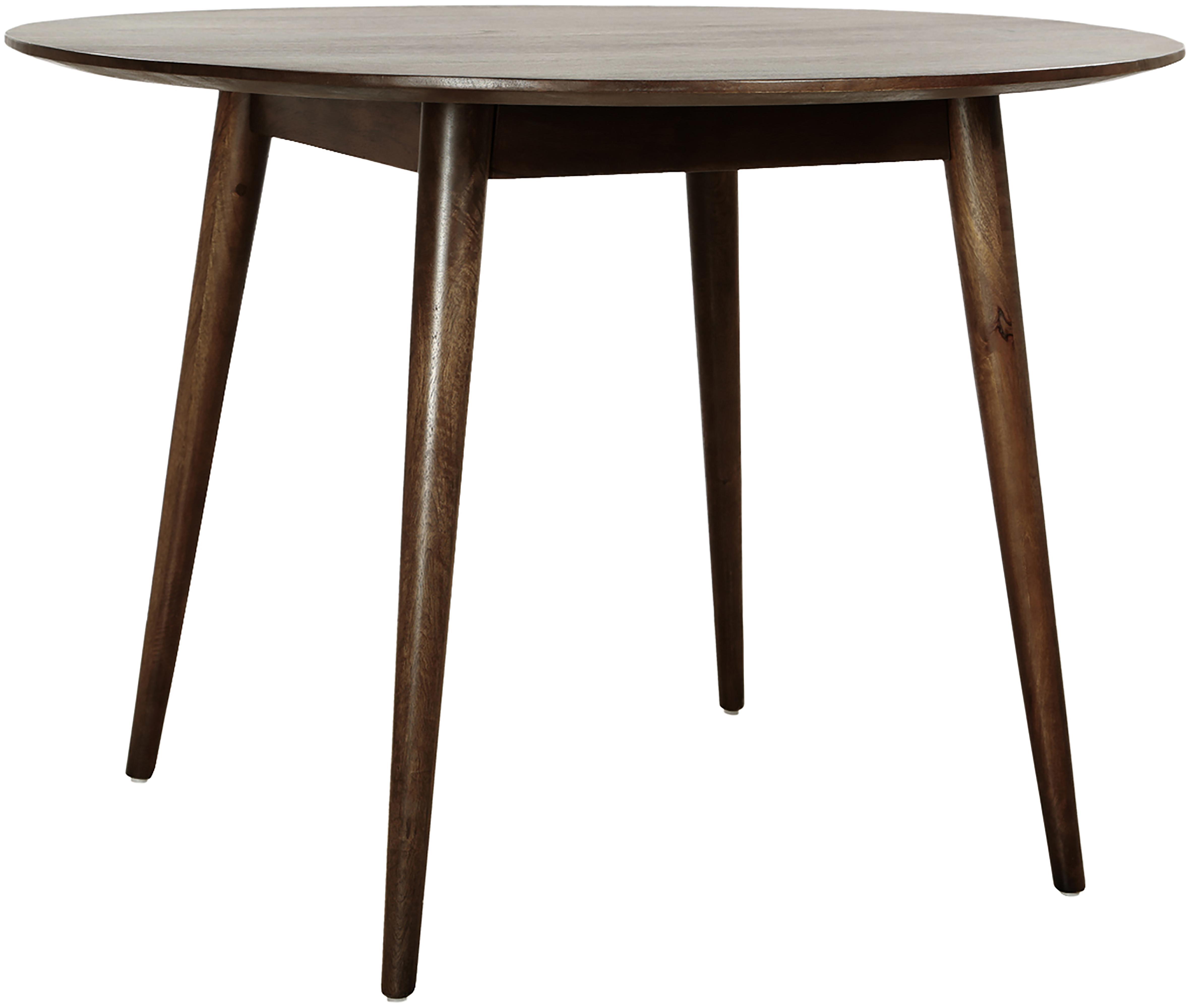 Ronde massief houten eettafel Oscar, Gelakt massief mangohout, Donkerbruin, Ø 106 cm