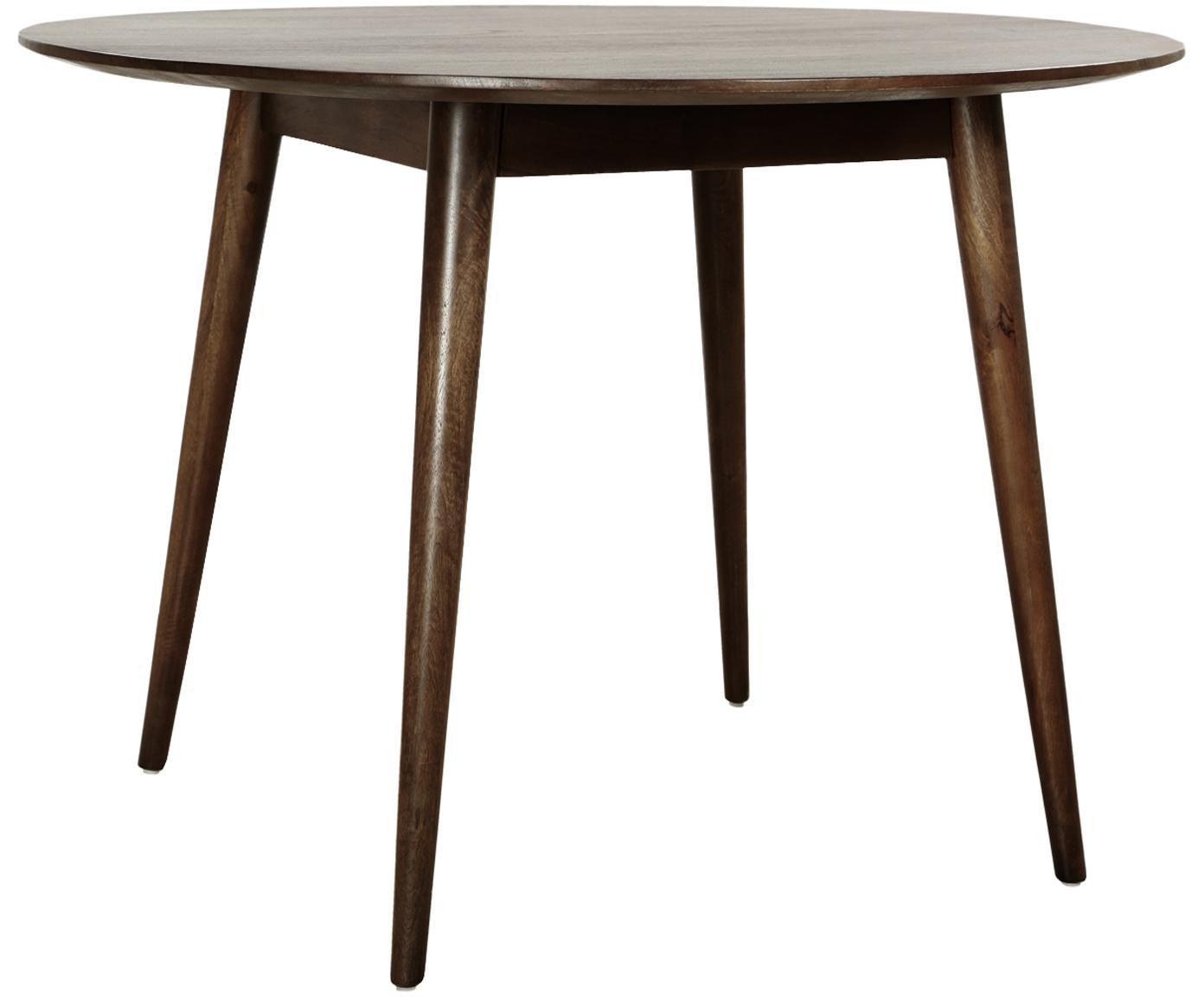Okrągły stół do jadalni z litego drewna Oscar, Masywne drewno mangowe, lakierowane, Ciemnybrązowy, Ø 106 cm