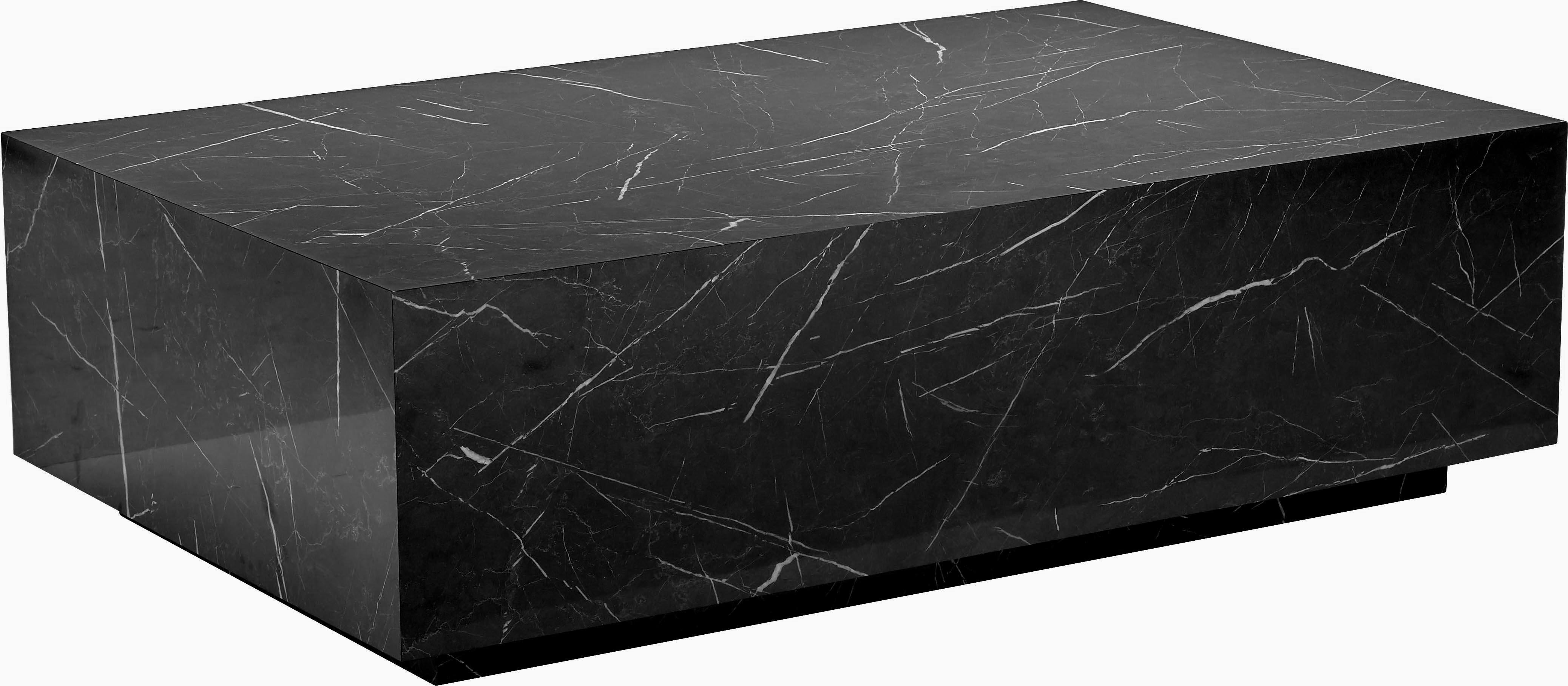 Mesa de centro en aspecto mármol Lesley, Tablero de fibras de densidad media(MDF) recubierto en melanina, Mármol negro brillante, An 120 x F 35 cm