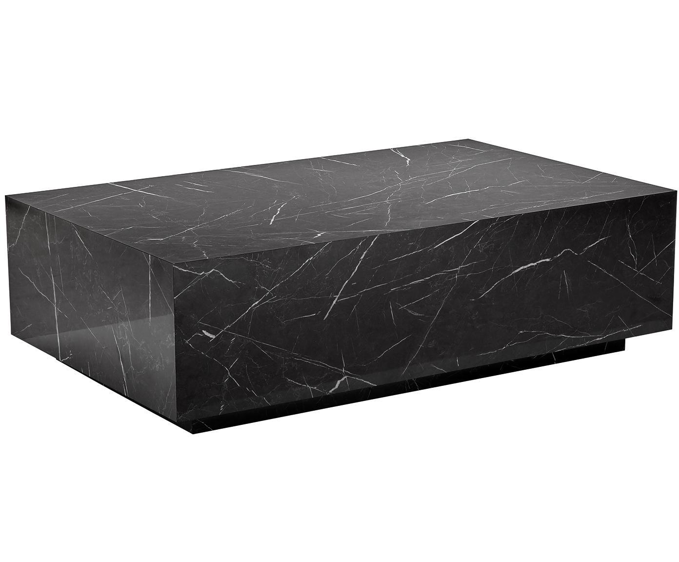 Schwebender Couchtisch Lesley in Marmor-Optik, Mitteldichte Holzfaserplatte (MDF), mit Melaminfolie überzogen, Schwarz, marmoriert, glänzend, 120 x 35 cm