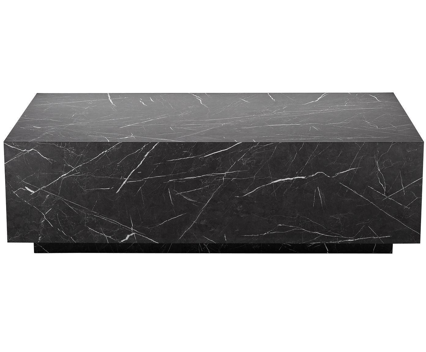 Zwevende salontafel Lesley met marmerlook, MDF bekleed met melaminefolie, Zwart, gemarmerd, glanzend, B 120 x D 75 cm