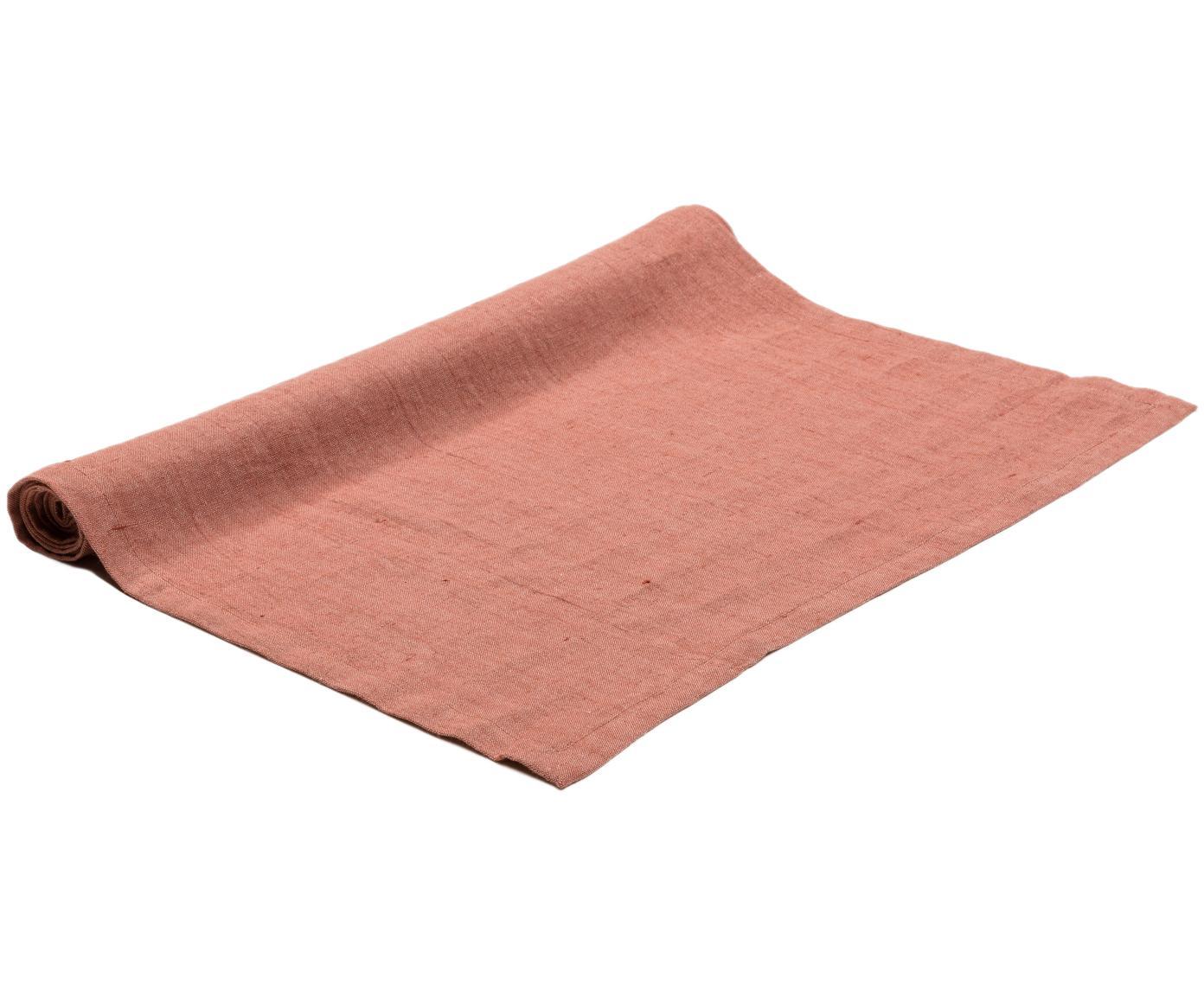 Runner da tavolo in lino Sven, Lino, Arancione marrone, Larg. 50 x Lung. 150 cm