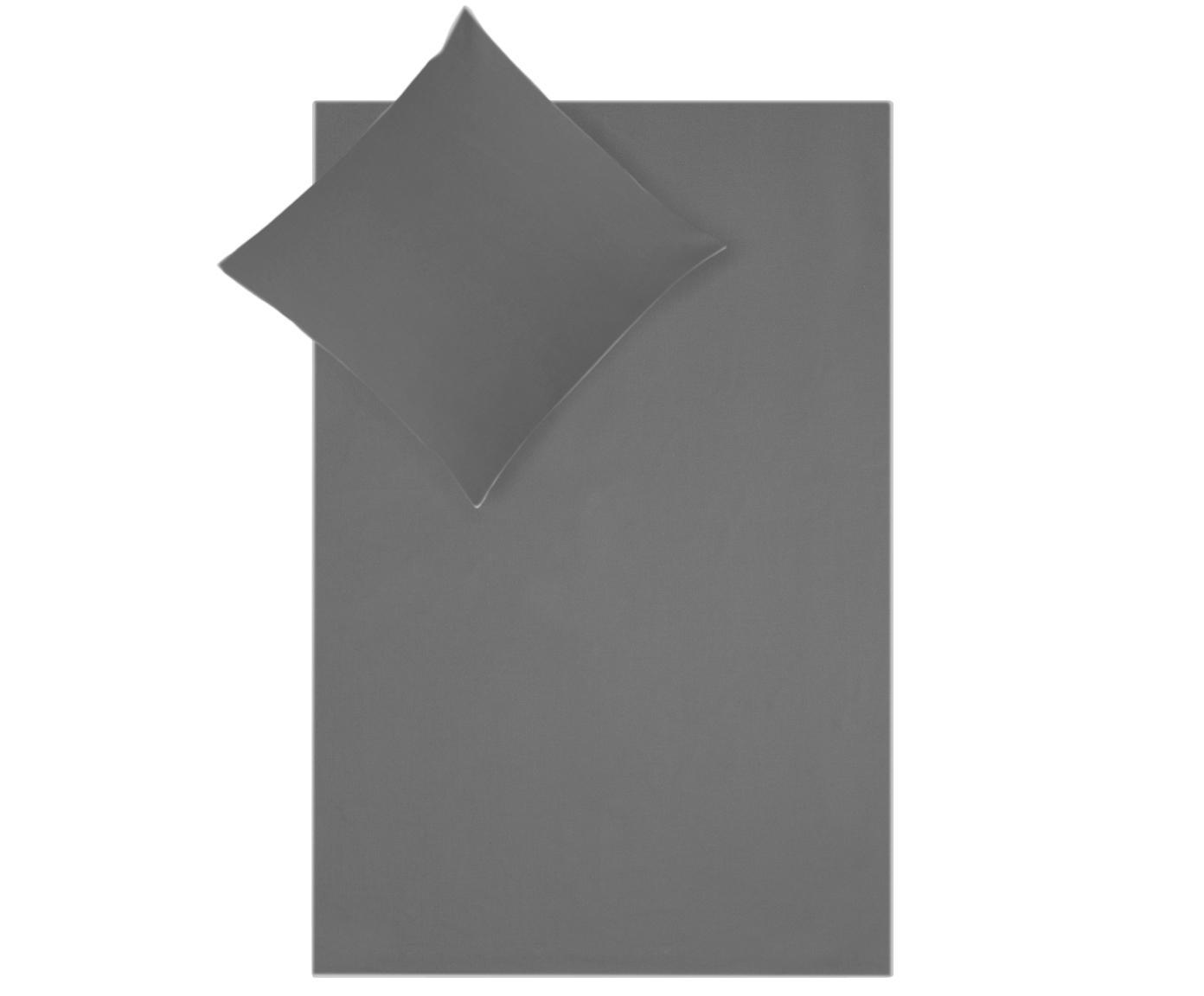 Pościel z perkalu z lamówką Daria, Ciemny szary Wykończenie brzegów: biały, 135 x 200 cm
