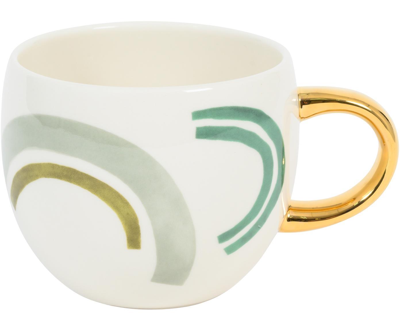 Bemalte Tasse Bounce mit goldenem Griff, Steingut, Mehrfarbig, Ø 11 x H 9 cm