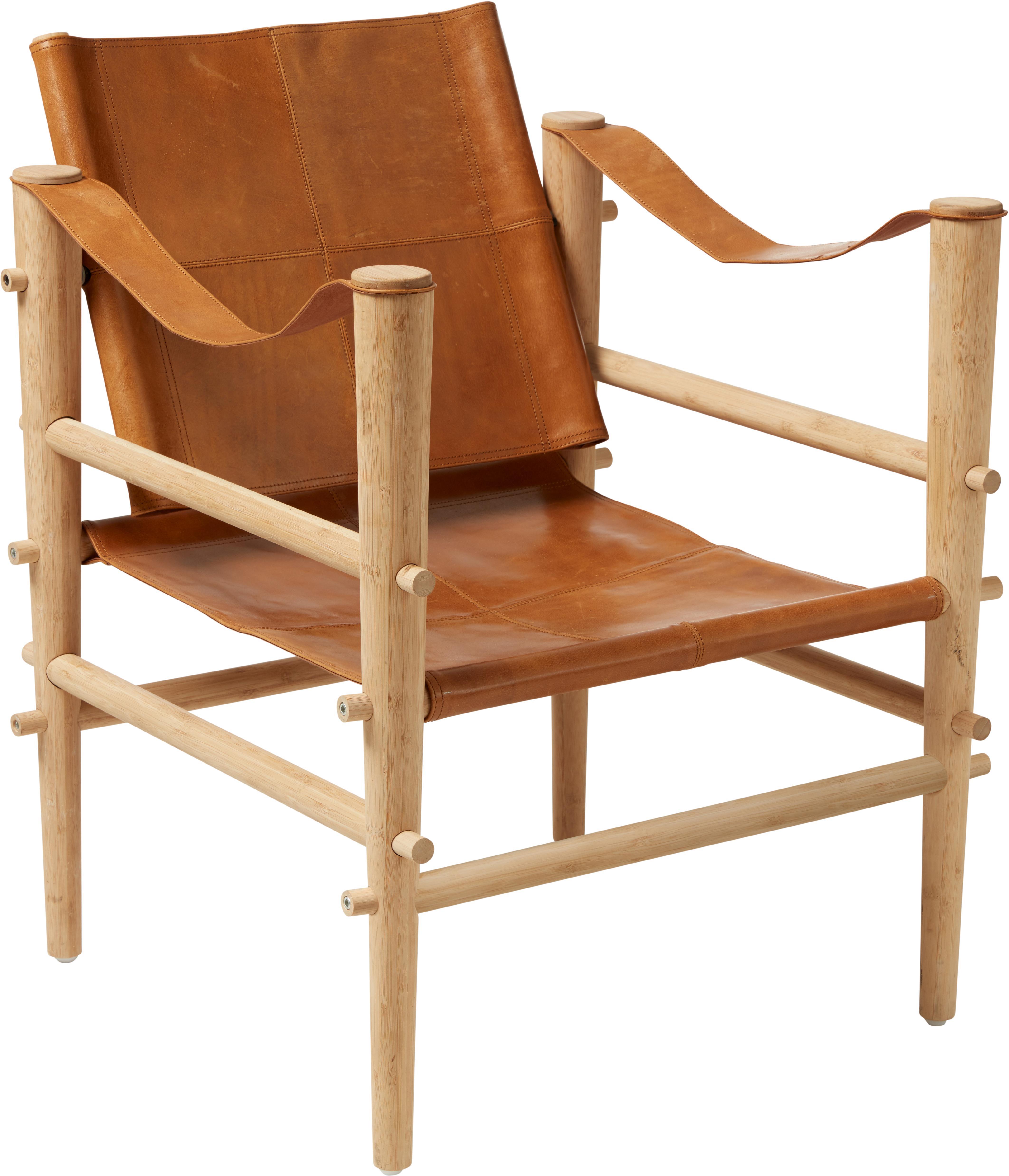 Fotel ze skóry Noble, Stelaż: drewno bambusowe poddane , Drewno bambusowe, jasny brązowy, S 61 x G 59 cm