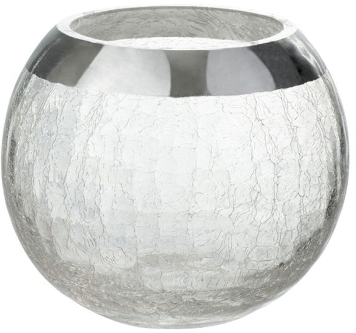 Waxinelichthouder Lackle, Gelakt glas, Transparant, zilverkleurig, Ø 14 x H 11 cm