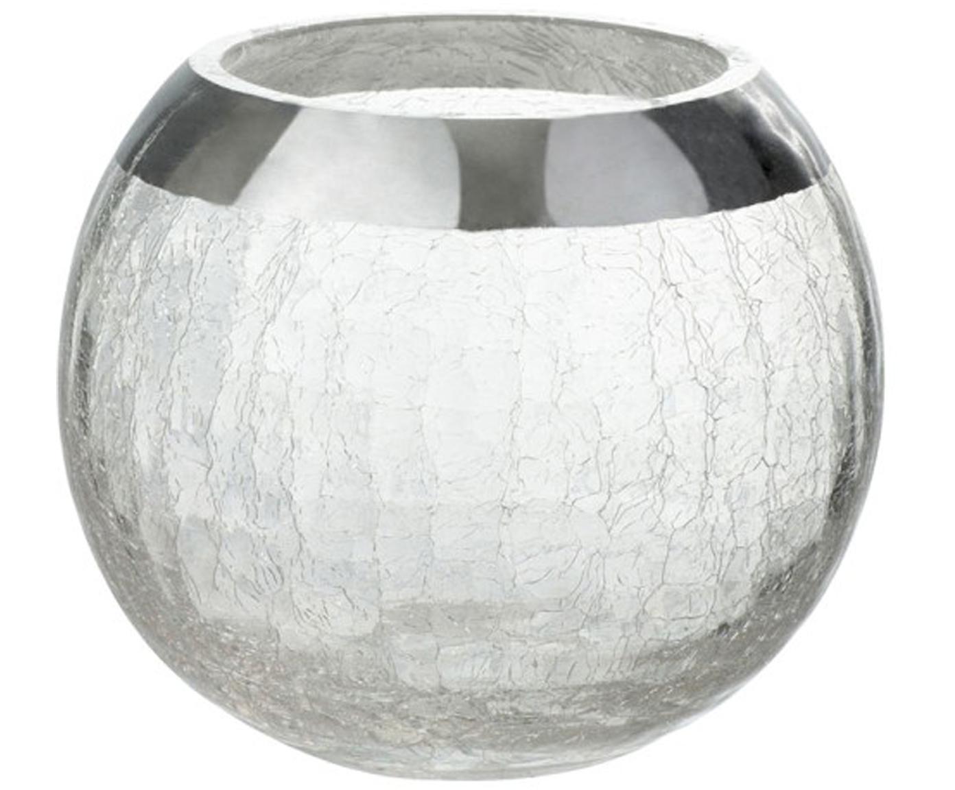 Teelichthalter Lackle, Glas, lackiert, Transparent, Silberfarben, Ø 14 x H 11 cm