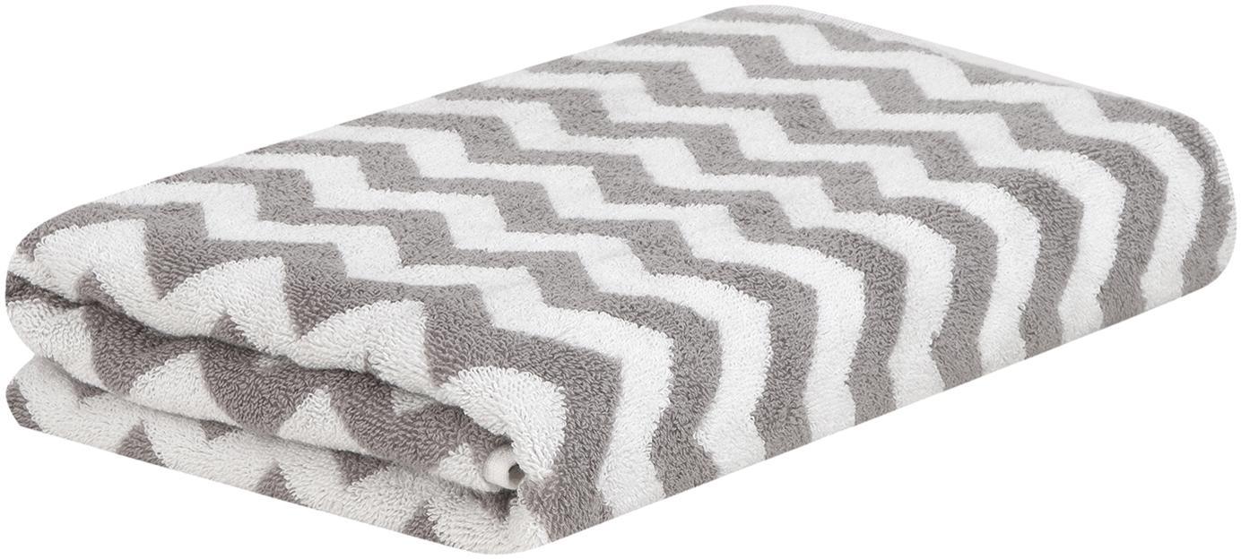 Handdoek Liv met zigzag patroon, Taupe, crèmewit, Handdoek