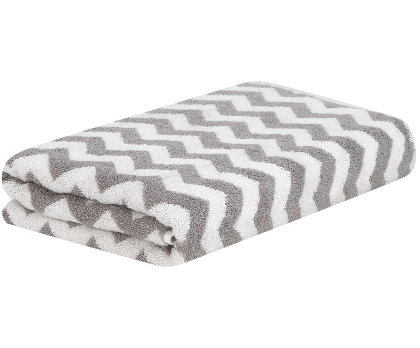 Asciugamano con motivo a zigzag Liv, Grigio, bianco crema, Asciugamano