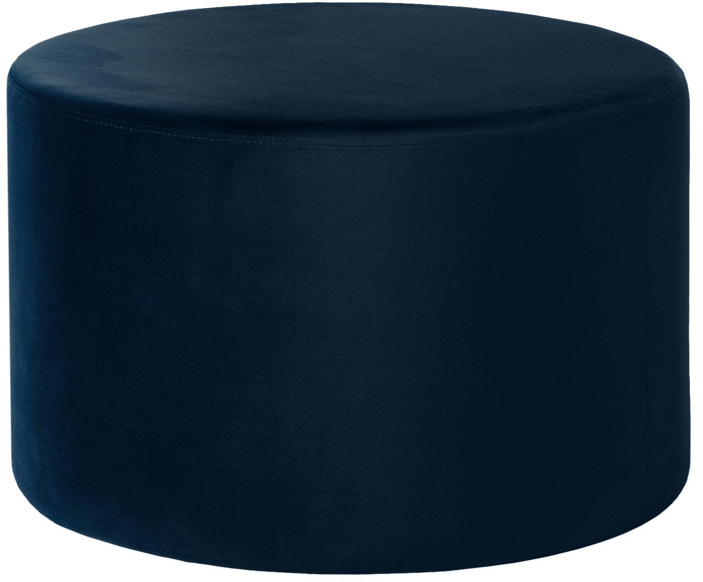 Pouf in velluto Daisy, Rivestimento: velluto (poliestere), Struttura: pannello di fibra a media, Blu marino, Ø 62 x Alt. 41 cm
