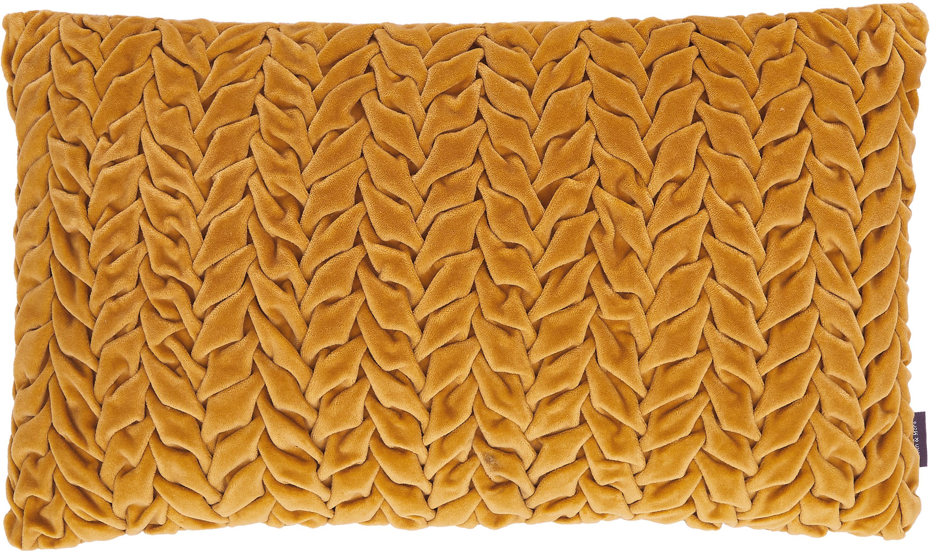 Samt-Kissen Smock in Senfgelb mit geraffter Oberfläche, mit Inlett, Bezug: 100% Baumwollsamt, Senfgelb, 30 x 50 cm