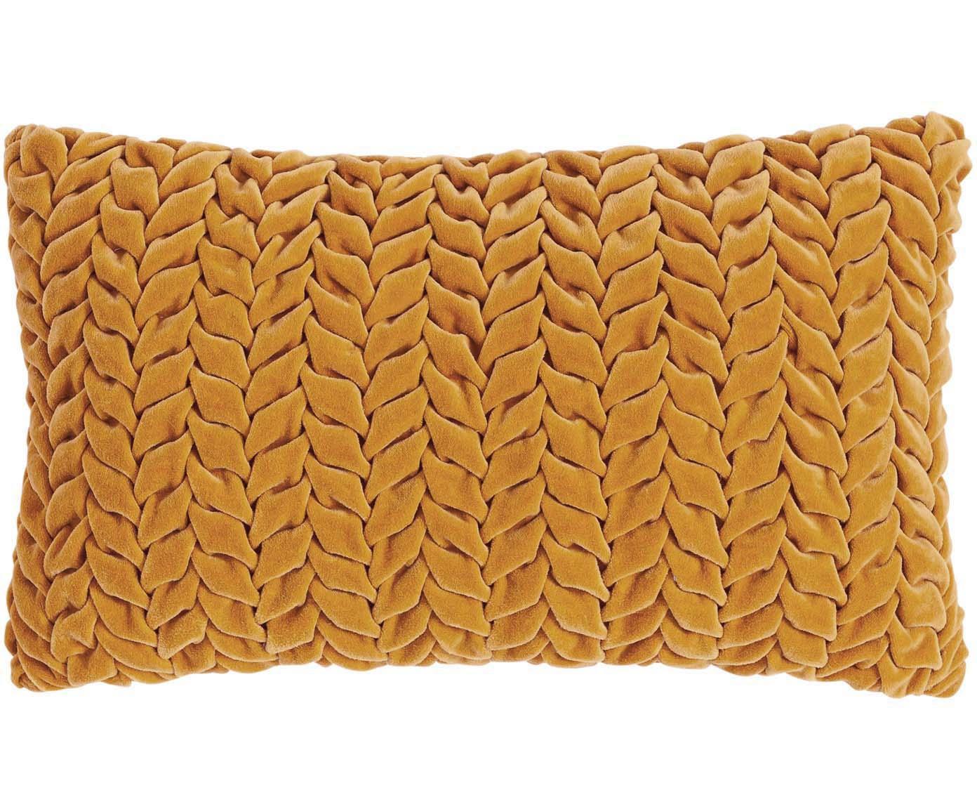 Poduszka z aksamitu z wypełnieniem Smock, Tapicerka: 100% aksamit bawełniany, Musztardowy, S 30 x D 50 cm