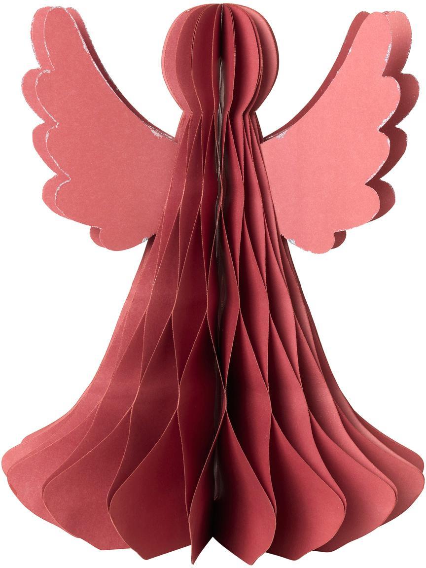 Pieza decorativa XL Angel, Papel, Rojo, Ø 21 x Al 27 cm
