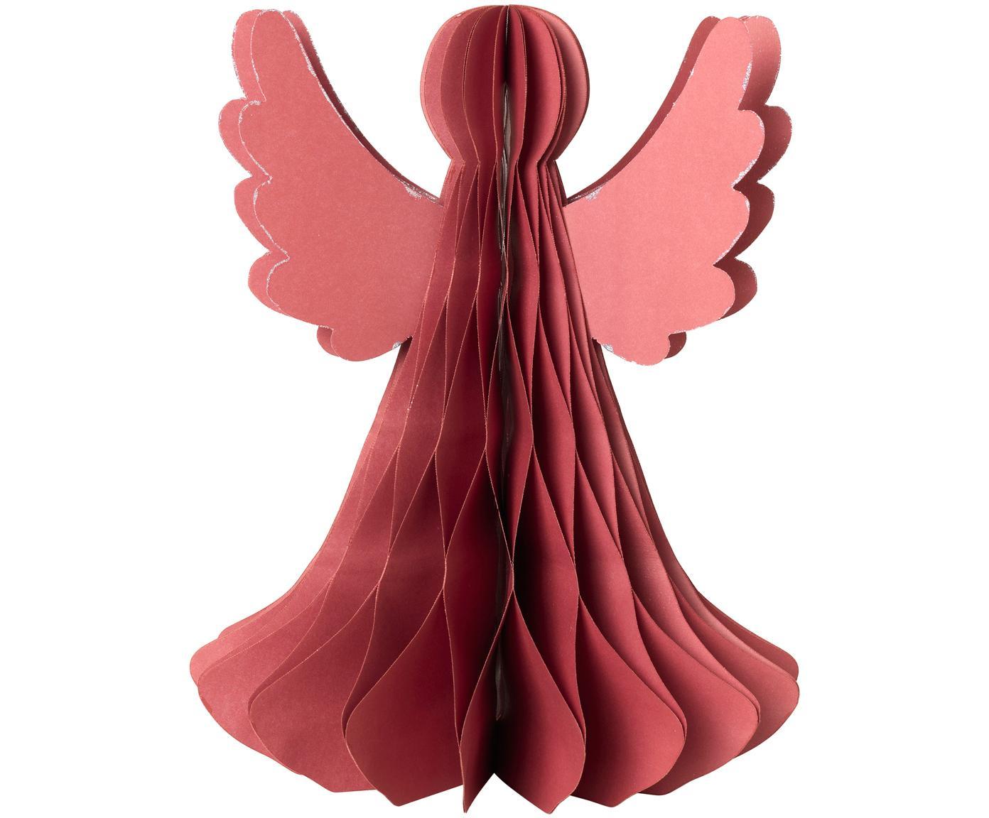 Dekoracja XL Angel, Papier, Czerwony, Ø 21 x W 27 cm